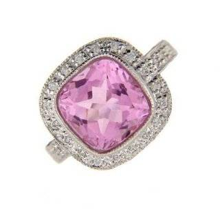 14k White Gold Diamond Pink Sapphire Ring Jewelry