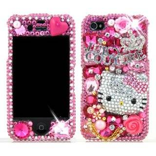 3D Swarovski Pink Hello Kitty Crystal Bling Case Cover for iphone 4