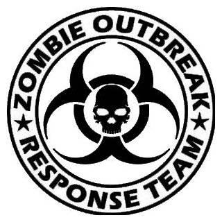 Zombie Outbreak Response Team Skull Design   5 BLACK Vinyl Decal