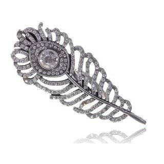 Repro Silver Tone Crystal Rhinestone Peacock Feather Girl Ring