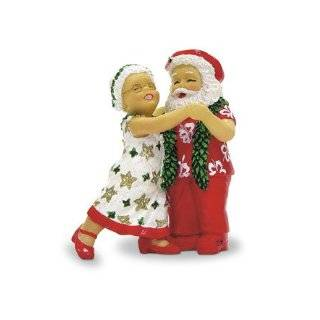 Hawaiian Dancing Clauses Christmas Ornament with Santa & Mrs. Claus
