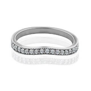 0.22CT Diamond 14K White Gold Diamond Curved Wedding Band