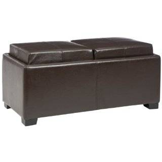 Bench Style Storage Ottoman with 2 Trays in Light Brown