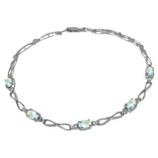 10k White Gold Diamond and Aquamarine Bracelet SZUL