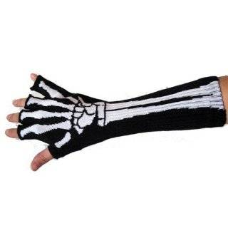 Skeleton Gloves Fingerless Goth Deathrock Gothic Punk