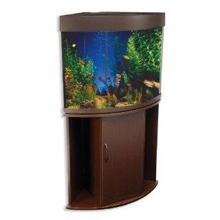 Penn Plax 36 Gallon Corner Aquarium Tank with Stand, Beech