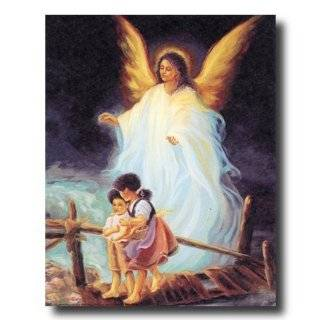 African American Black Guardian Angel Children Bridge Religious
