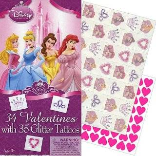 Disney Princess Valentines Day Cards 34ct with 35 Glitter Tattoos