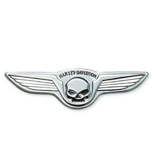 Harley Davidson Willie G Skull w/ Wings Medallion Chrome 91723 02