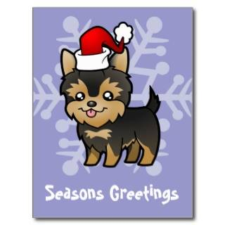 Christmas Yorkie (puppy with bow) postcards by SugarVsSpice
