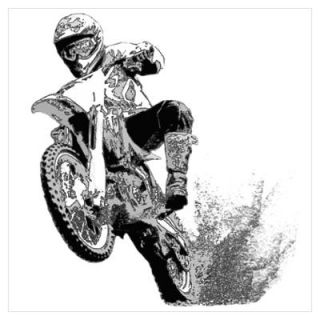 Wall Art > Posters > Black/white dirt bike wheeling in mud