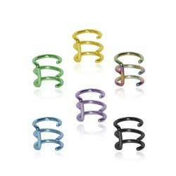 Titanium Anodized Fake Cartilage Clip on Triple Ring