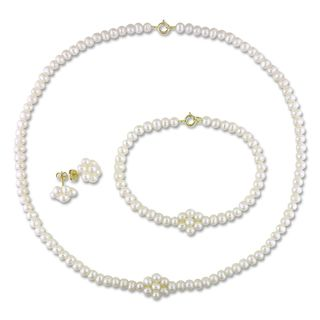 Miadora 10k Yellow Gold Pearl Jewelry Set (3 4 mm)