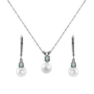 Pearls For You Silver Blue Zircon and Pearl December Jewelry Set (6 6