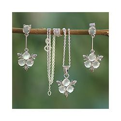 Sterling Silver Silver Clover Moonstone Jewelry Set (India) Today: $