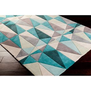 Hand tufted Diamonds Blue Contemporary Geometric Rug (5 x 8