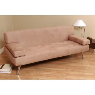 back Light Brown Microsuede Sofa Bed