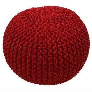 Handmade Casual Living Indian Cables Red Pouf