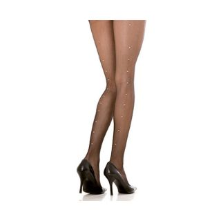 EMAJE Black Sheer Rhinestone Pantyhose (Pack of 2)