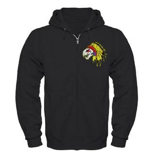 Skull Indian Headdress Zip Hoodie (dark)