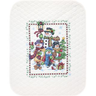 Dimensions Stamped Cross Stitch Quilt Kit   Snowman Greeting