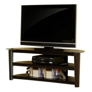 Sauder Entertainment Credenza   Cinnabar and Black Glass