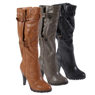 Journee Collection Womens Buckle Accent Knee High Boots