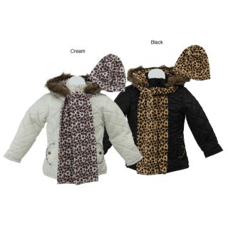 Bongo Girls Cheetah Puffer Coat with Scarf