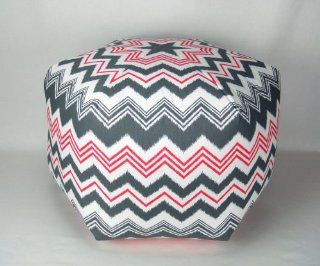26 Floor Ottoman Pouf Pillow, Gray, Hot Pink and White