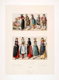 Fashion 19th Century Traditional Dress   Original Chromolithograph