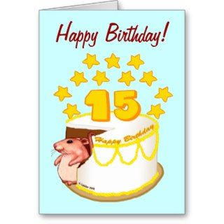 15 Year Old Birthday Cake Mouse Greeting Cards