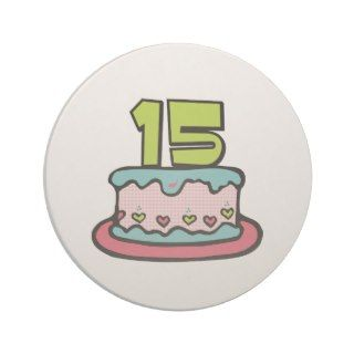 15 Year Old Birthday Cake Drink Coaster