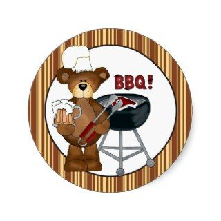 Cartoon Hillbilly BBQ Bear sticker