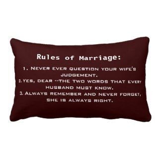Funny Marriage Rules Throw Pillow
