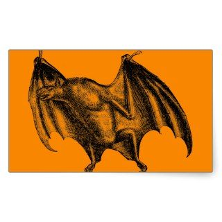 Vintage 1800s Vampire Bat Illustration   Halloween Rectangular Sticker