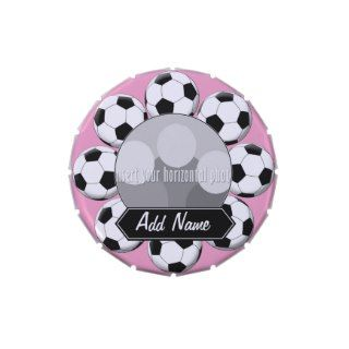 Soccer Ball Custom Photo Border for Girls Jelly Belly Candy Tins