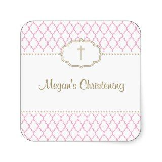 Pink and Gold Christening Baptism Sticker