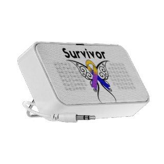Bladder Cancer Butterfly Tattoo Ribbon iPod Speakers