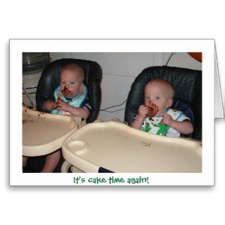 twin boys first birthday cake greeting card