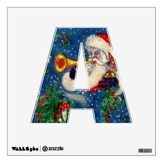 CHRISTMAS F LETTER / SANTA WITH CHRISTMAS MONOGRAM STAMPS