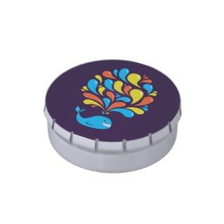 Dark Purple Color Splash Happy Cartoon Whale Jelly Belly Tins