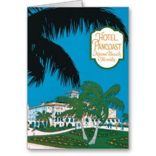Vintage Hotel Pancoast Miami Beach Florida Ad Greeting Cards