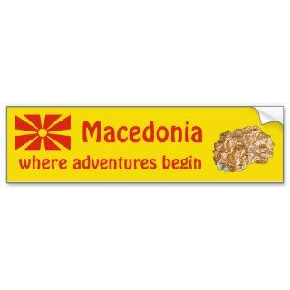 Macedonia Flag + Map Bumper Sticker