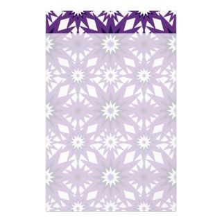 Bold Purple Star Pattern Starburst Design Personalized Stationery
