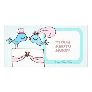 Wedding Couple   Blue Birds Cake Topper Picture Card
