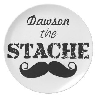 The Stache Mustache Retro Hipster Party Plates