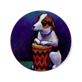 Dog playing bongo drum fun original drumming art stickers