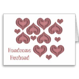 Valentines day Husband, pink hearts on white Card
