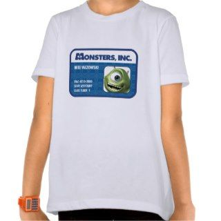 Monsters Inc. Mike Wazowski employee ID card Tee Shirts