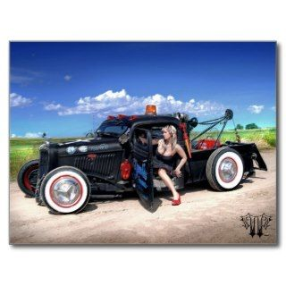 Speeds Towing Rat Rod Wrecker Pin Up Postcard